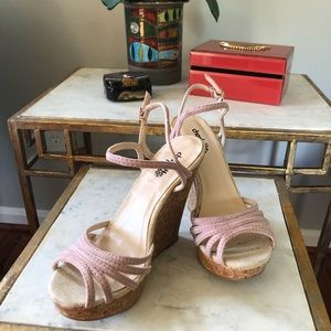 Charlotte Russe Light Pink Wedges, Size 6 1/2.